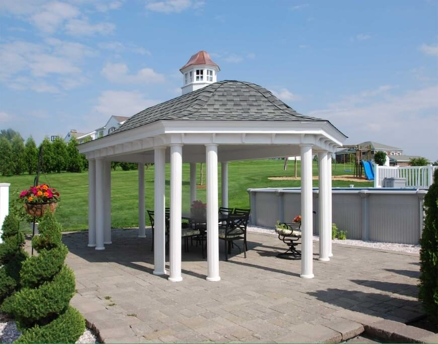Another great example of an open design pavilion style gazebo. This one features a bell shaped roof and fluted columns.