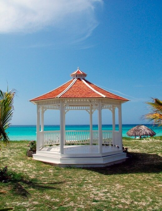 Patio gazebos are typically designed to be large enough to be suitable for patio furniture.