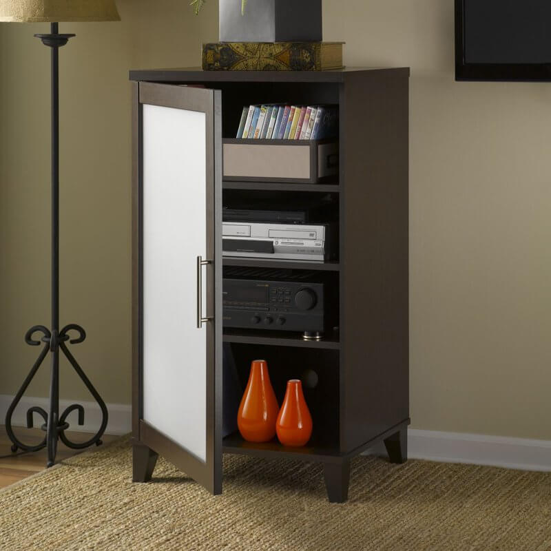 Attractive small cabinets are a great place to store DVD players and sound systems. They keep cords hidden and aren't bulky like typical entertainment centers