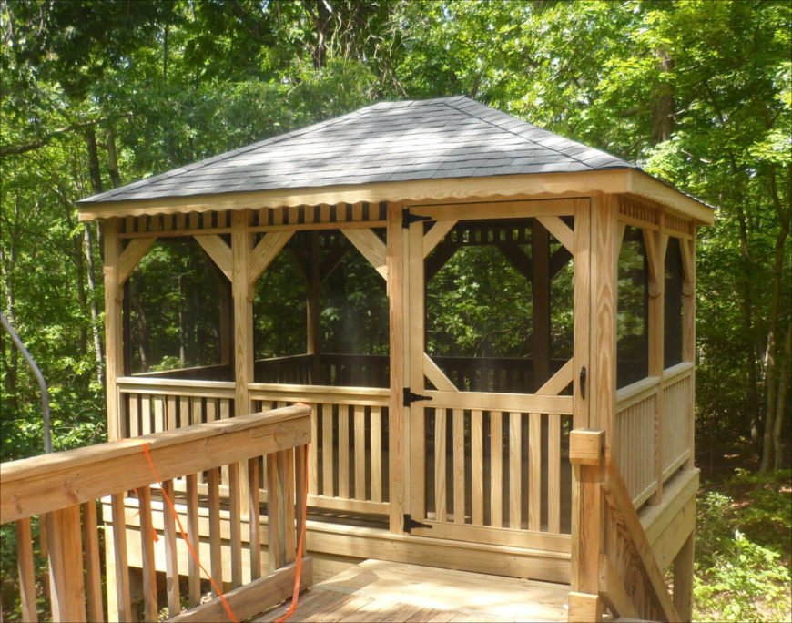 Adding screens to your gazebo keeps the bugs out without also keeping out the cool breeze. This is perfect for an elevated treehouse-style gazebo like this one.