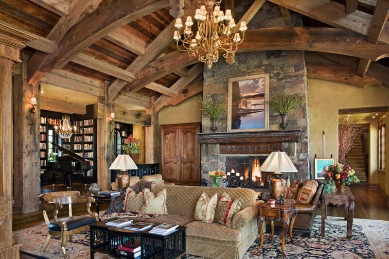 51-living-room-pillar-styles-rustic