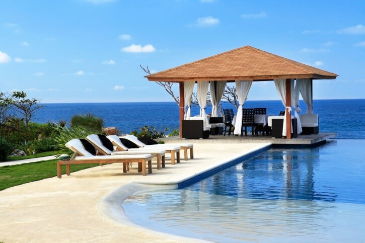 The breezy design of an open gazebo is perfect for tropical locations, so you can get out of the sun but still feel the salty air on your skin.