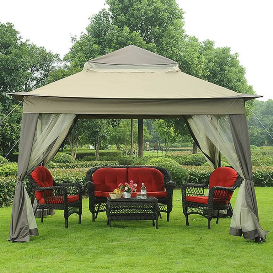 While this gazebo is typically open, the screen or shades can be drawn if privacy is desired or as the evening falls and bugs start to emerge.