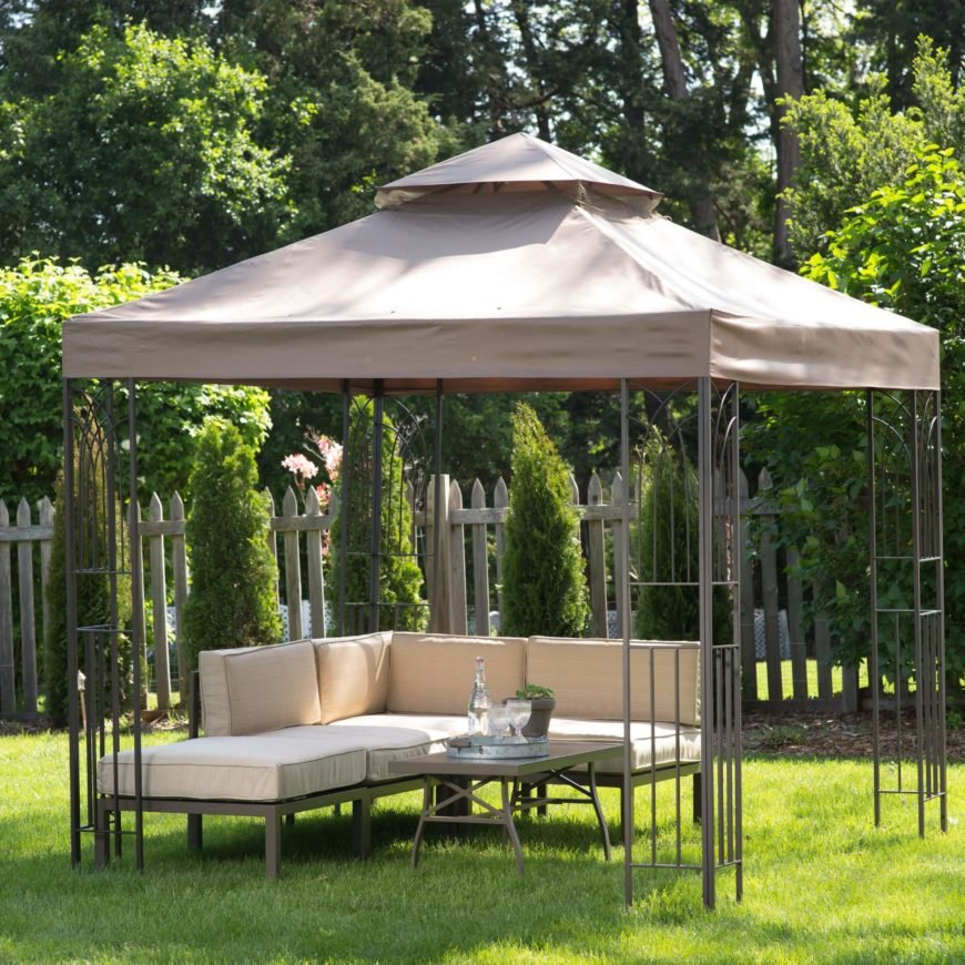 This gazebo is still remarkably inexpensive, but looks better than a partially covered canvas model.