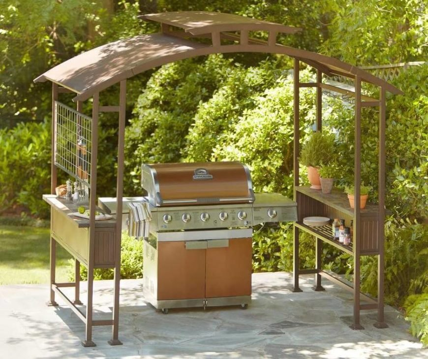 This gazebo is less expensive than building a permanent structure and features extra storage space that you'll be glad to have when it's time to grill out!