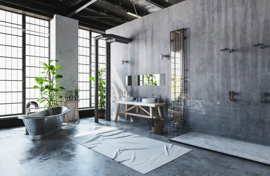 Plants in an industrial decor space to conceal exposed pipes.
