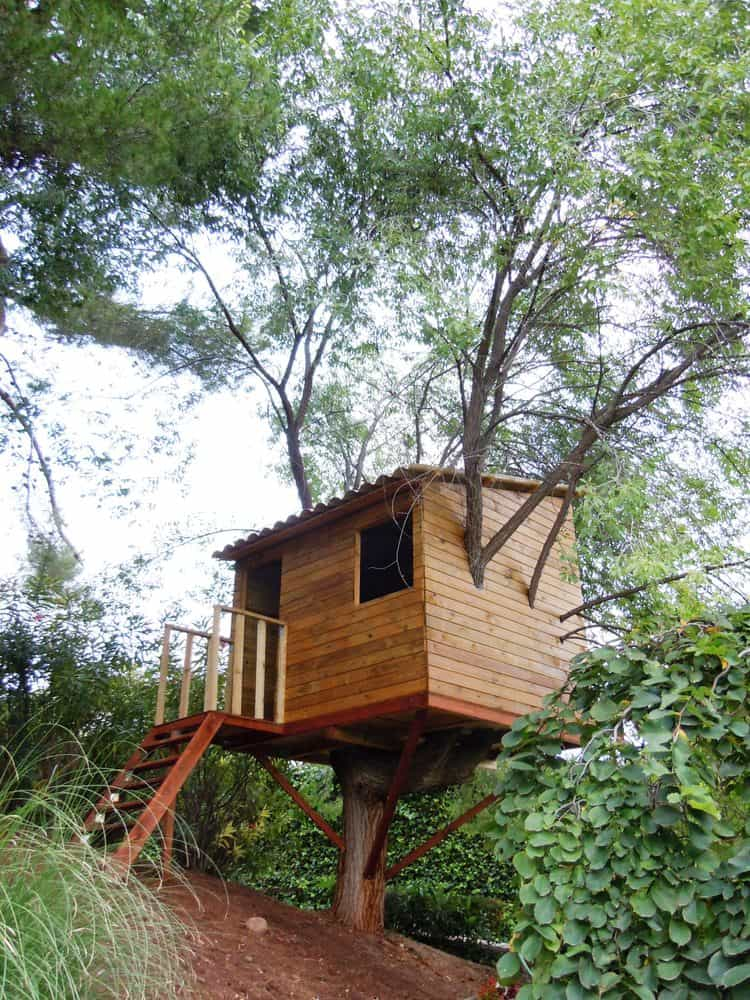 Small treehouse with shed style roof.