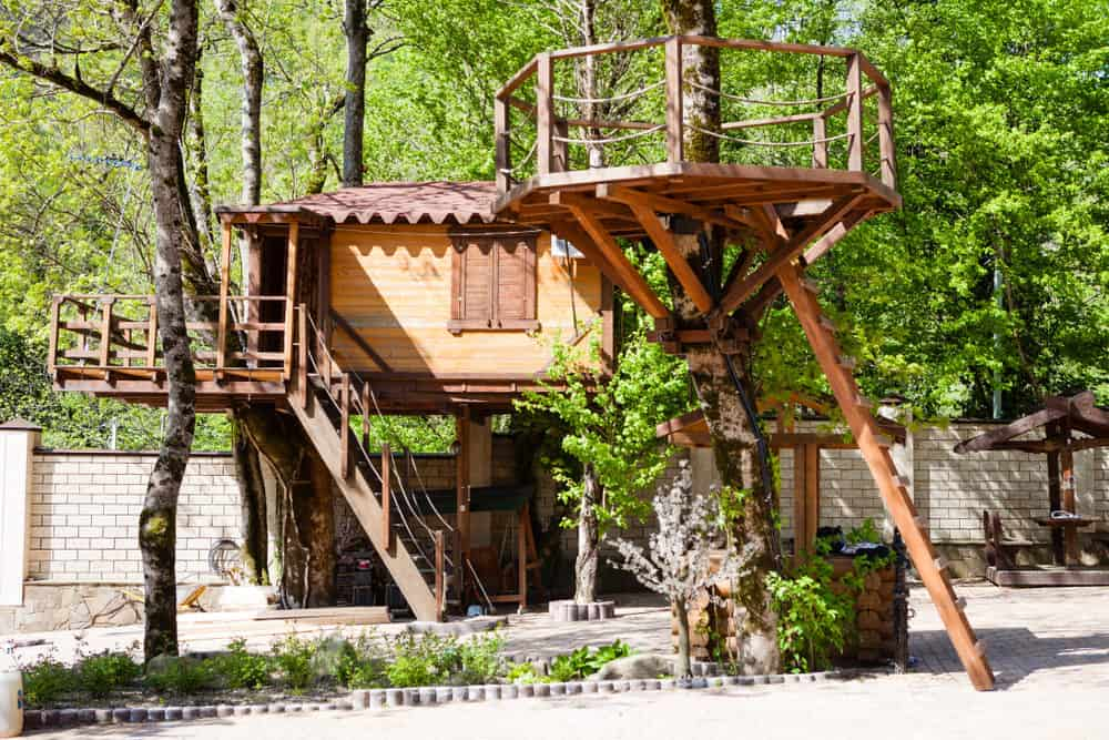Large treehouse complex with stairs, deck and and upper level deck.