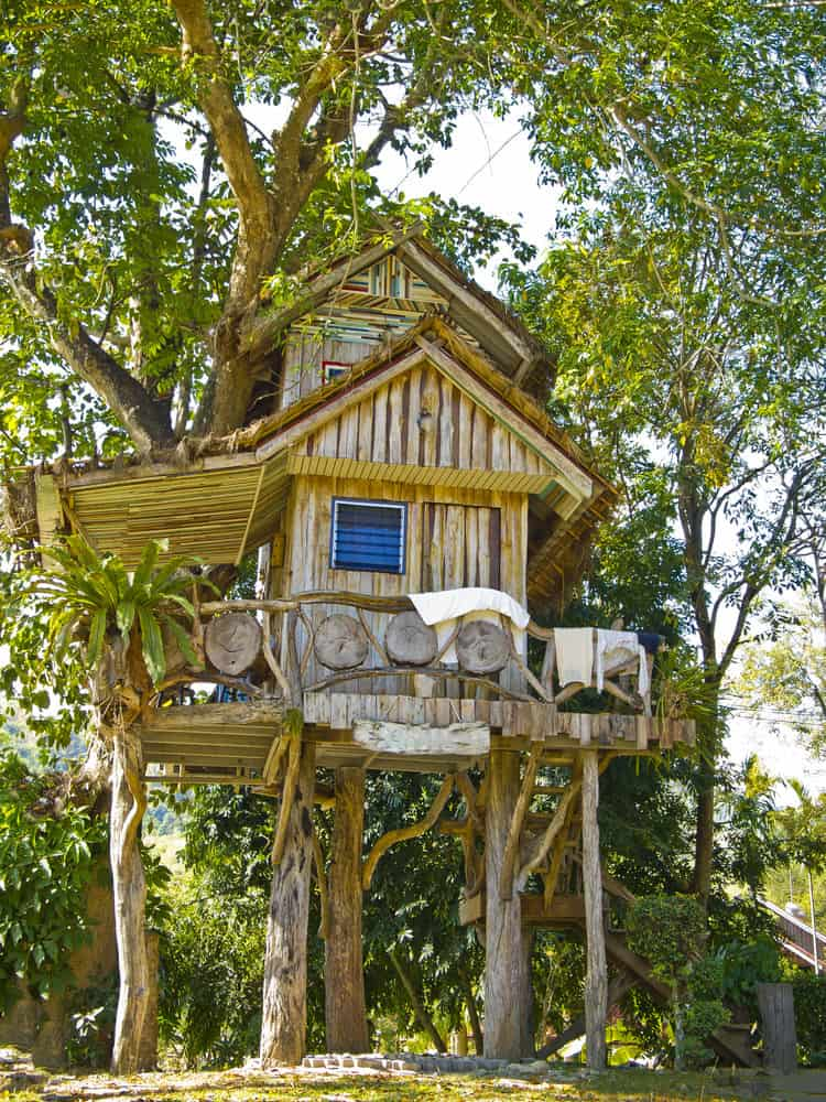 2-story kids tree house with wrap around deck.