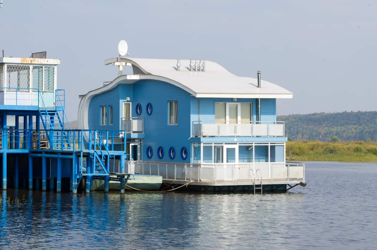 Light blue houseboat