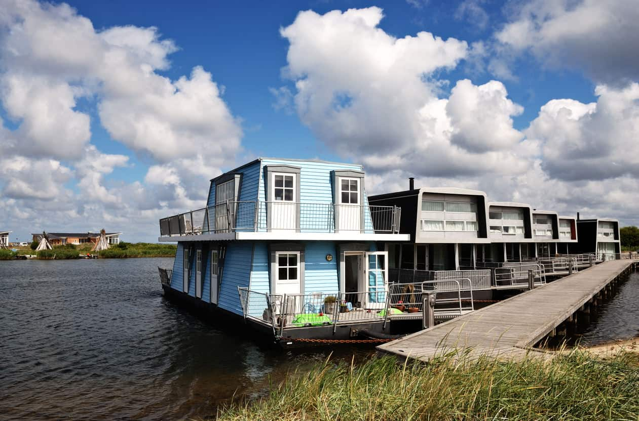 houseboats in a row in Denmark