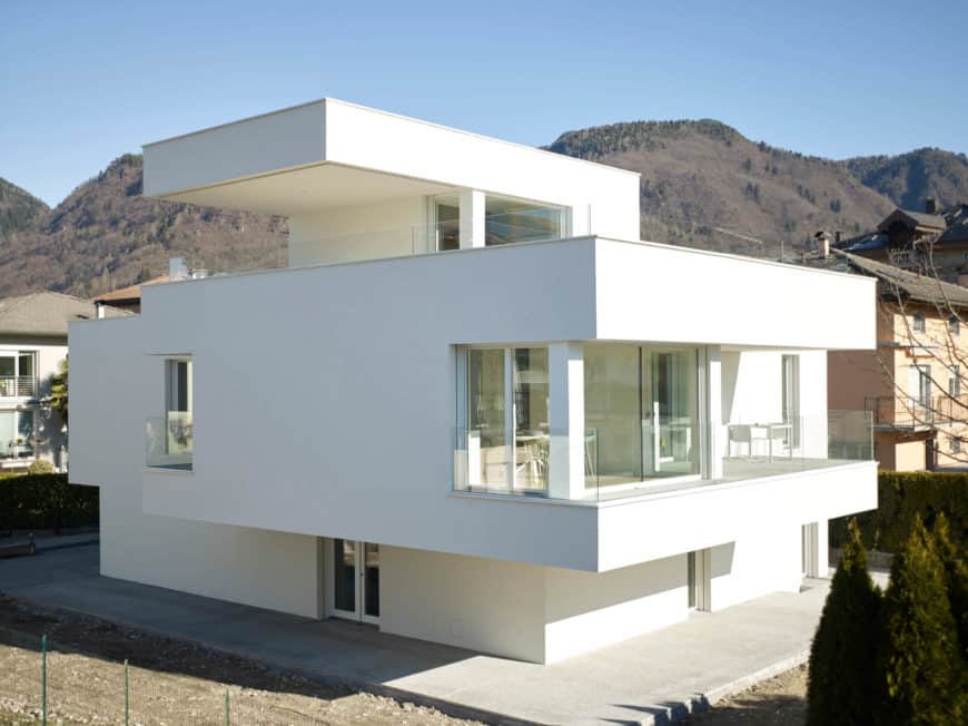 White modern house with a stylish exterior design.