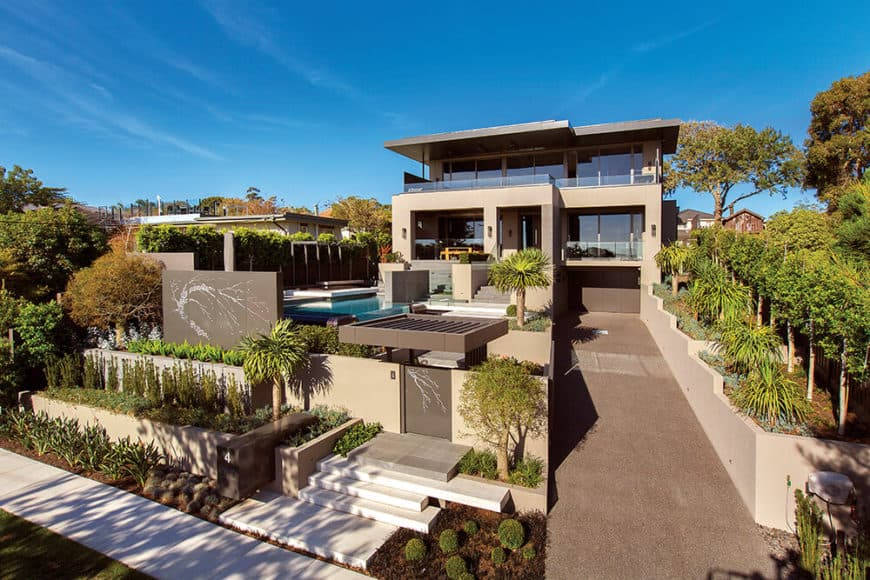 Large modern estate with interesting outdoor amenities and a gorgeous interior setup.