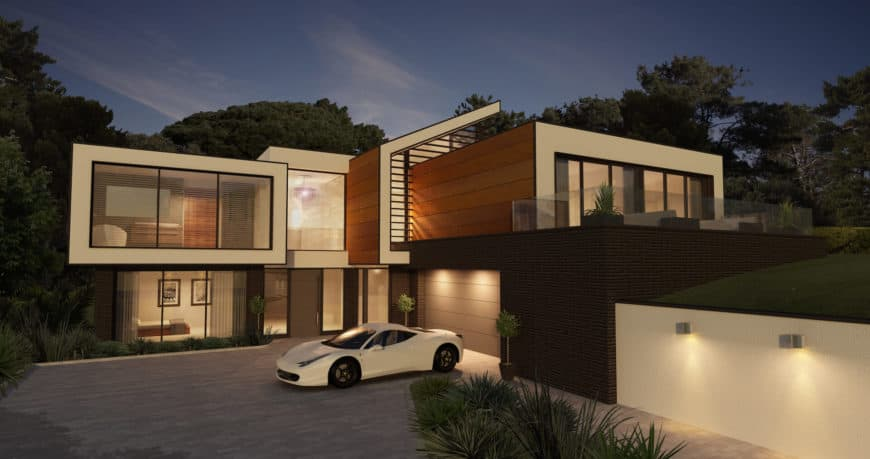 Modern house featuring a stylish exterior and a wide driveway.