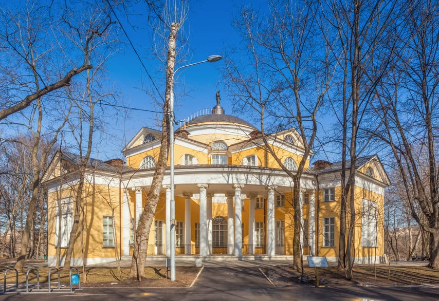 Nikolay Durasov's palace under bright sunlight located in Lyublino, Moscow, Russia. Palace was built at the beginning of XIX century.