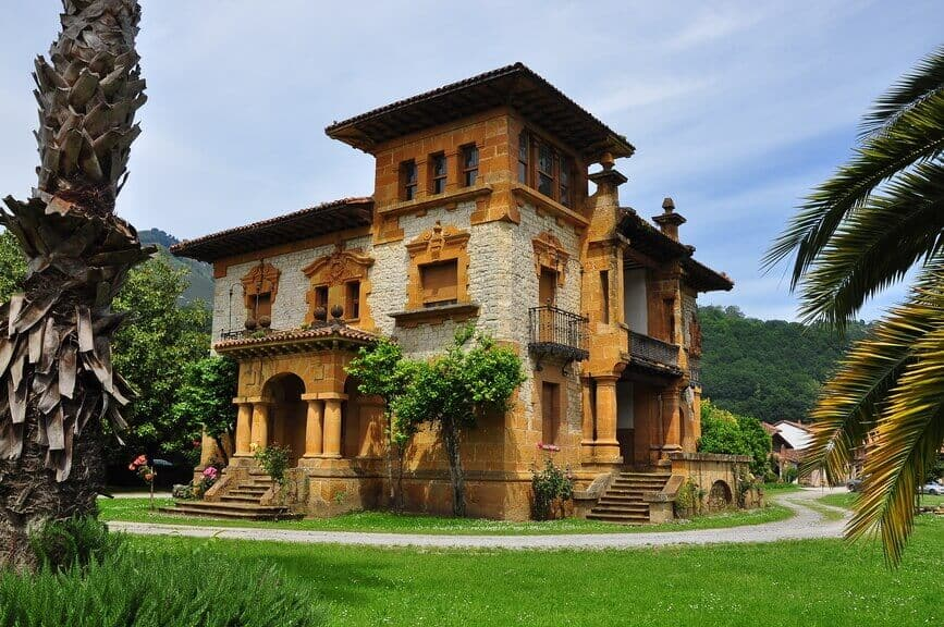 Wood and stone Victorian home in Asturias, Spain.