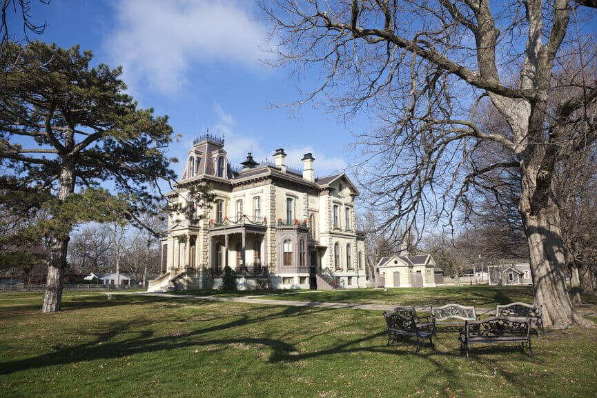 A David Davis Victorian mansion on large property in Bloomington, Illinois.