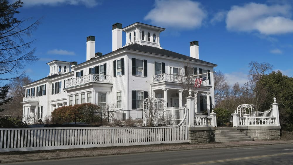 White Victorian Era Mansion In Maine Usa