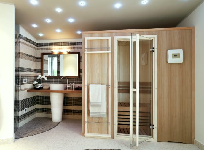 Example of a small sauna built inside a private home