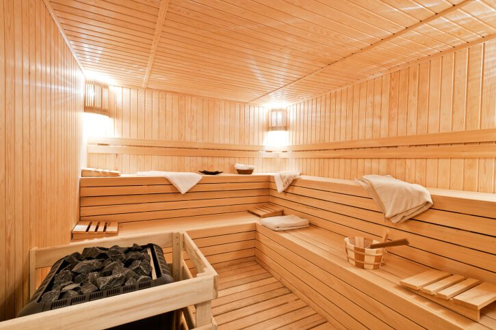 Typical L-shaped two-tiered sauna.