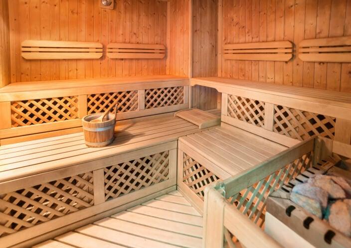 Example of sauna benches and design incorporating lattice.