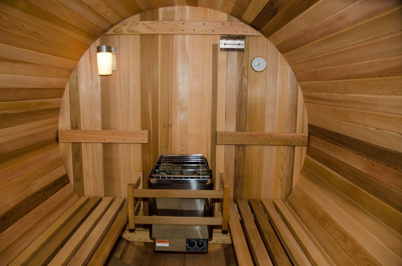 Inside of a dry heat barrel sauna