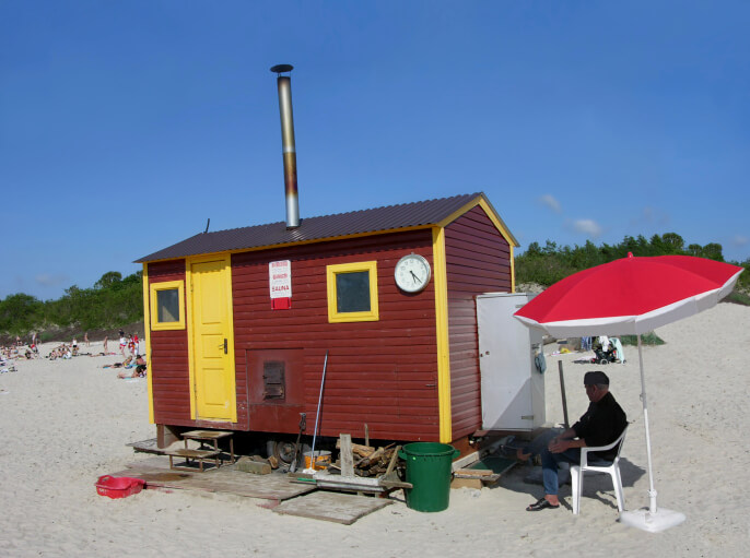 Portable sauna hut on the beach