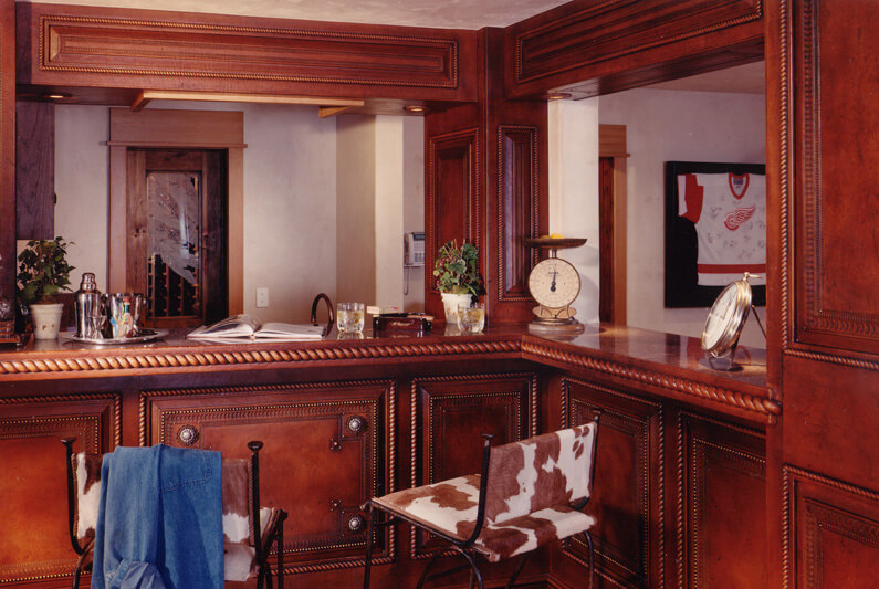 Close up of the home's bar in the large entertainment/game room.