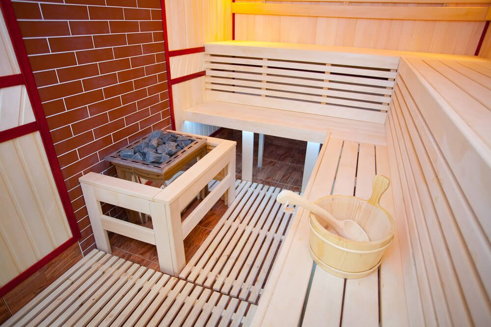 Sauna built in brick room