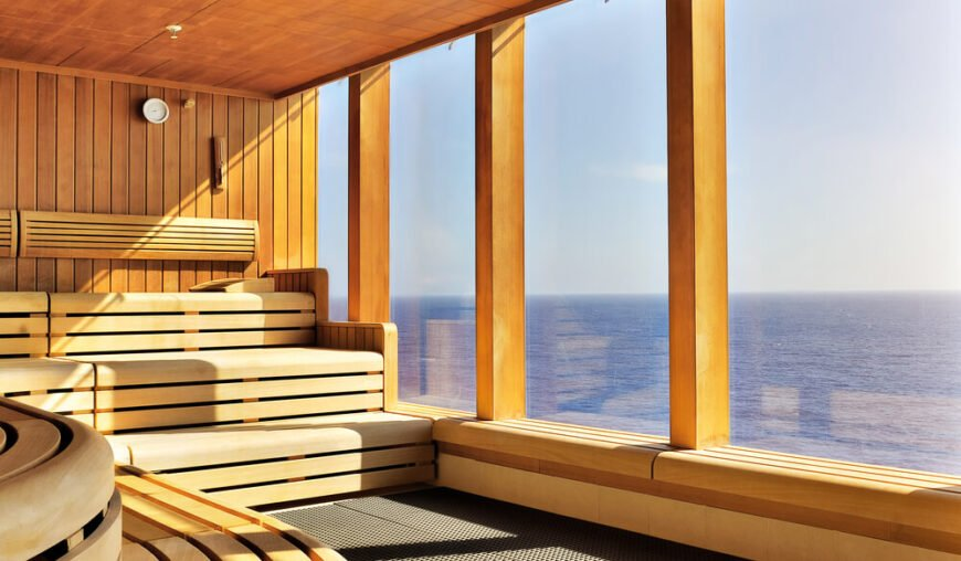 Three-tiered sauna with large windows overlooking the ocean