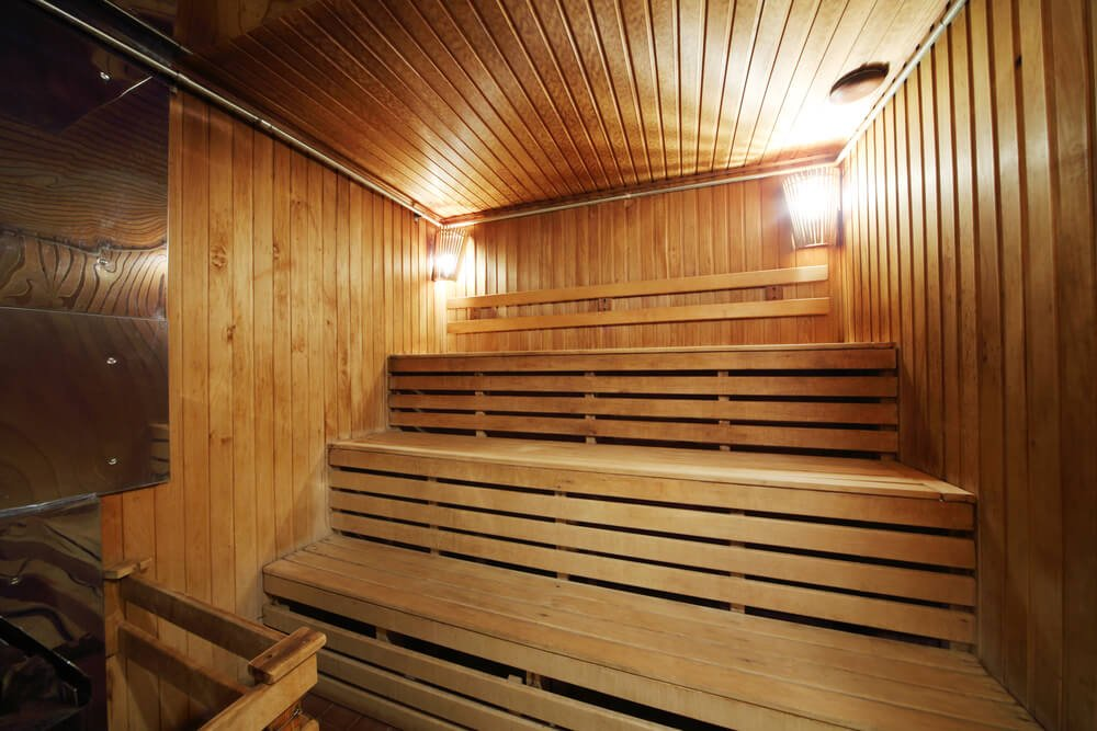 Three-tiered sauna interior. I particularly like saunas with three levels because your entire body is immersed in the heat while sitting on the third level.