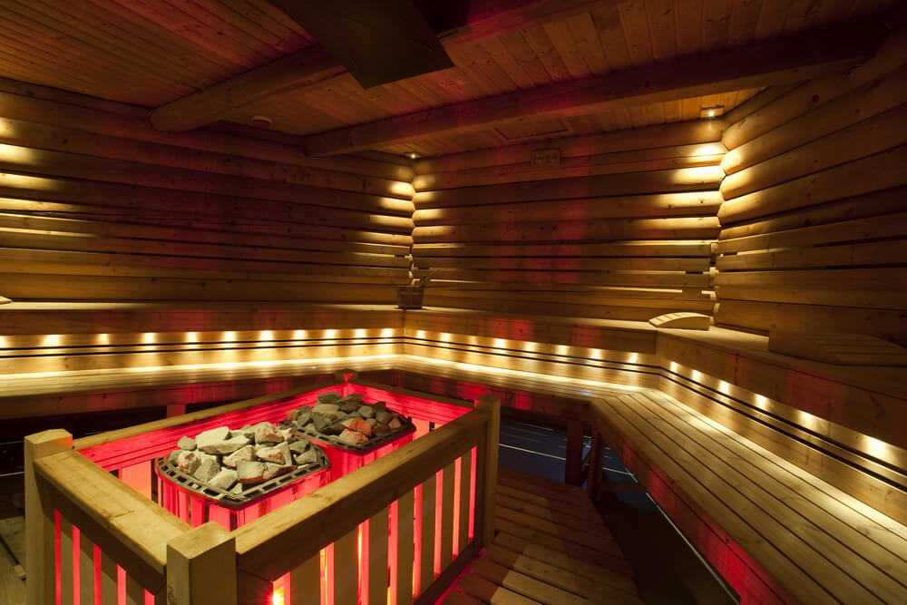 U-shaped sauna with two heating elements in the middle.