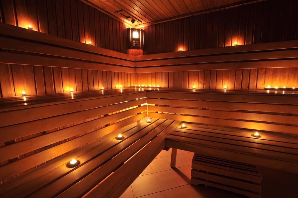 Three-level sauna interior with mood lighting