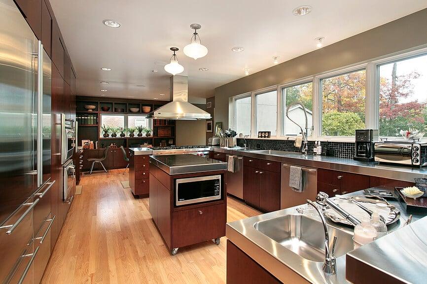 Stainless Steel Countertops in Luxury Kitchen