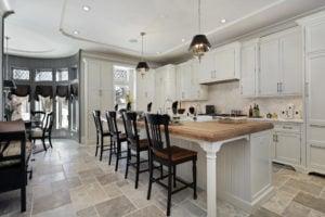 White Kitchen with White Island