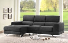 Dark grey chaise sectional for smaller spaces