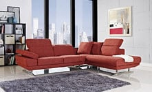 Red modern small sectional sofa