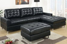 Black leather modern chaise lounge small sectional