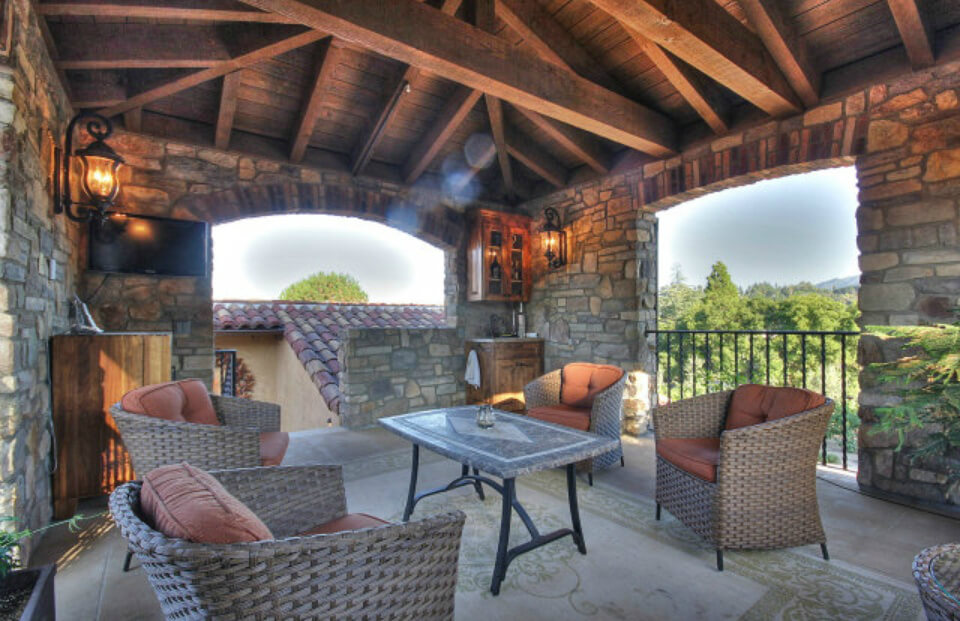 This is the tower covered patio with a bird's-eye view of the entire estate.