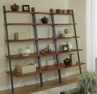 Modular leaning ladder shelving unit
