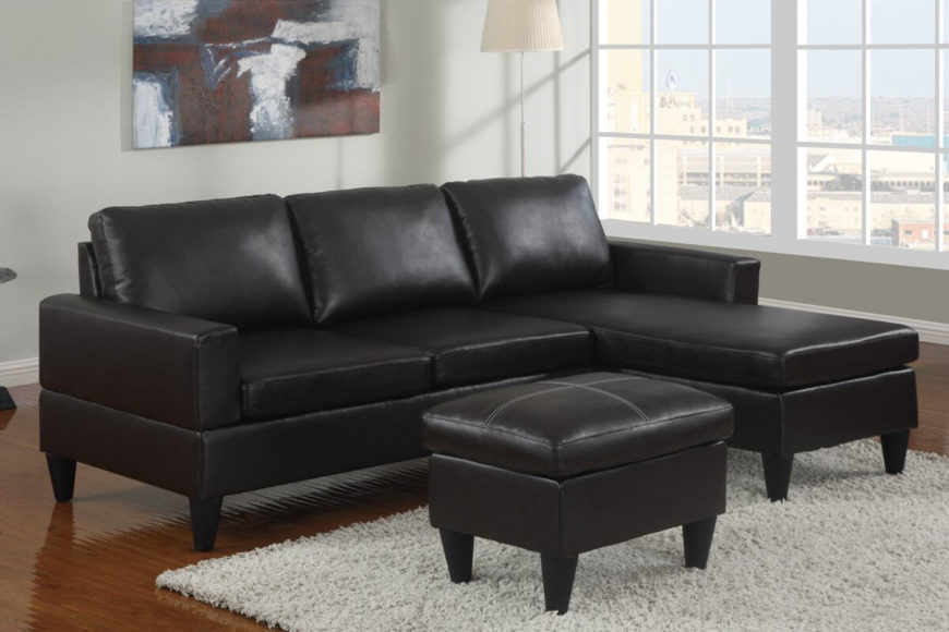 An incredibly elegant and comfortable black leather sectional with a decidedly contemporary outline. The sturdy hardwood frame ensures that the sofa will hold up over steady years of use. The finish is faux leather.
