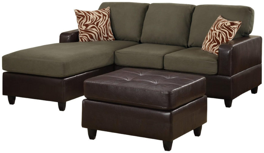 A modern sectional sofa with a chaise lounge attached. The soft faux leather of the base matches the faux leather of the included cocktail ottoman. Also included are two zebra patterned throw pillows. The sofa is pictured here in sage, but comes in a variety of colors including chocolate and red.