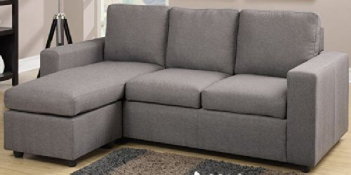 Another stylish grey reversible sectional featuring linen-like upholstery and a cozy, contemporary space saving design perfect for small apartments or dens.