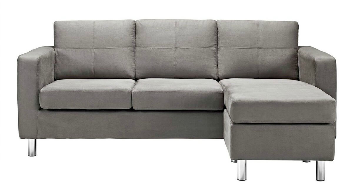 A cozy modern sectional in a light gray microfiber upholstery that's incredibly popular right now. The microfiber upholstery is incredibly easy to clean, and the sectional is small-space configurable. The modern aluminum legs are detachable.