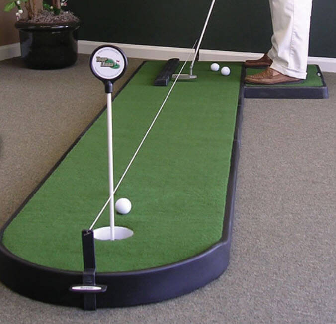 Here's a standard rectangular putting mat with raised green around the hole at rounded end, made for office placement.