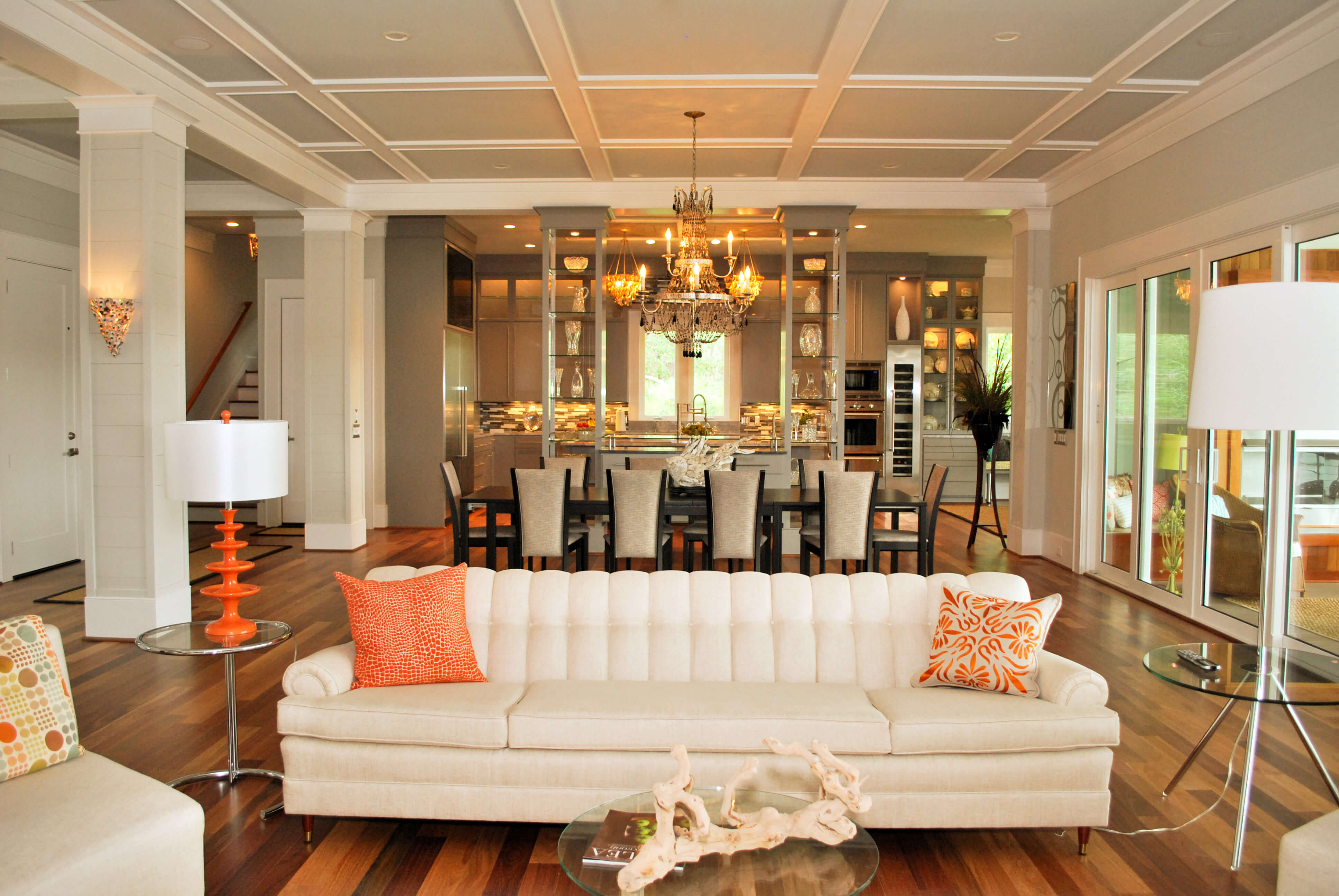 Luxurious living room and dining room in tropical mansion