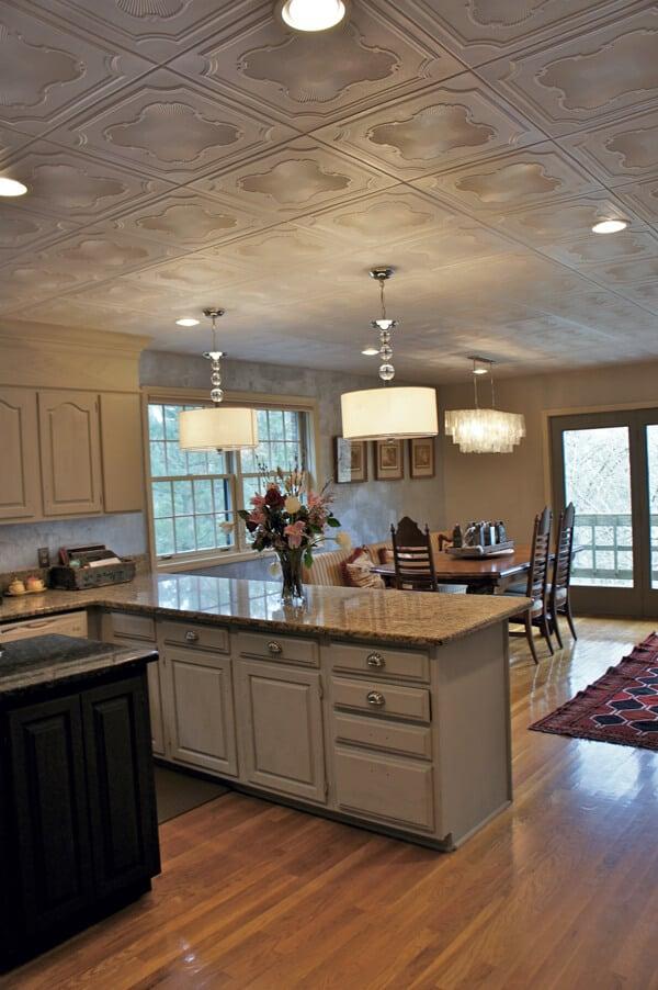 White kitchen with textured styrofoam ceiling