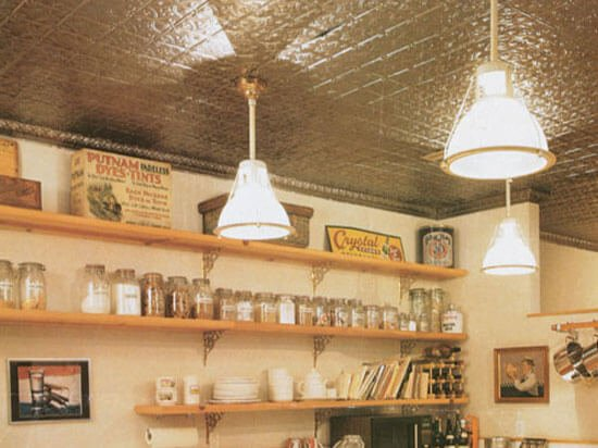 country kitchen with aluminum ceiling tiles