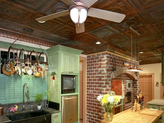 country kitchen with copper ceiling tiles
