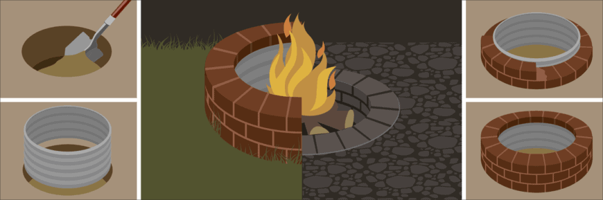 Illustration of a DIY fire pit